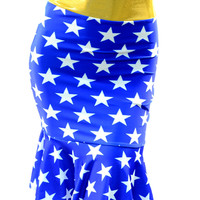 Knee Length Gold Waistband Blue Star Wonder Woman Inspired Skirt