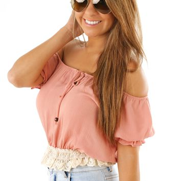 Don't Back Down Crop Top: Blush