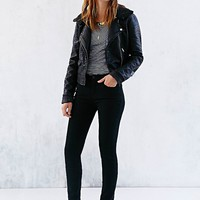 OBEY Eddie Sherpa-Collar Vegan Leather Moto Jacket - Urban Outfitters