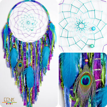 The Peacock Large Native Style Handwoven Dream Catcher
