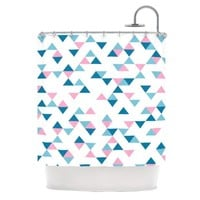 Kess InHouse Project M 'Triangles Pink' Shower Curtain, 69 by 70-Inch