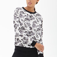 Woven Floral Print Pullover