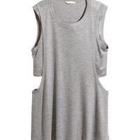 H&M - Melange Tank Top - Light gray melange - Ladies