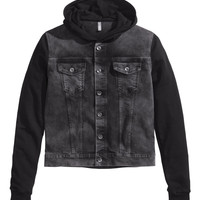 H&M - Hooded Denim Jacket - Black - Men