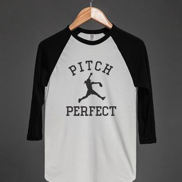 Pitch Perfect (Softball)-Unisex White/Black T-Shirt