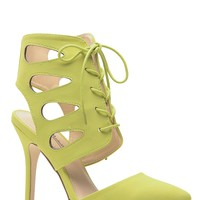 Lime Lace Up Single Sole Pointed Heels @ Cicihot Heel Shoes online store sales:Stiletto Heel Shoes,High Heel Pumps,Womens High Heel Shoes,Prom Shoes,Summer Shoes,Spring Shoes,Spool Heel,Womens Dress Shoes