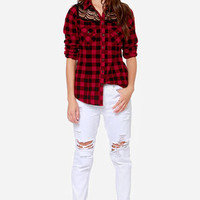 White Crow Offering Red Plaid Button-Up Top
