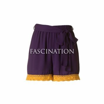 """Interception"" Crochet Shorts in Purple and Gold"