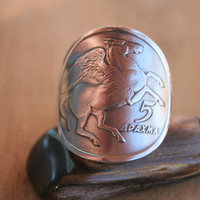 "Authentic Greek 1973 5 Drachmai ""Pegasus Flying Horse"" coin ring with Sterling band size 9.."