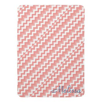 Coral Chevron Navy Personalized Baby Blanket