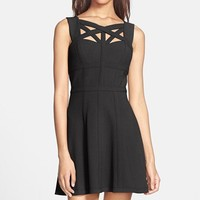 BCBGMAXAZRIA 'Yasminka' Cutout Crepe Fit & Flare Dress (Petite)