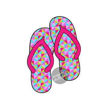 Geometric Flip Flops Car Decal - Colorful Triangle Pattern Flipflop Sandal Bumper Sticker Laptop Beach Decal Lime Green Teal Purple Pink