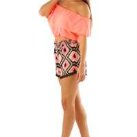 Stand On The Horizon Crop Top: Neon Coral