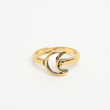 GOLD OPEN MOON RING