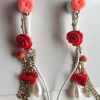 Peach Mini Rose Earbuds by HoneyBadgerBuds on Etsy