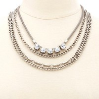 Layered Rhinestone Chain Collar Necklace