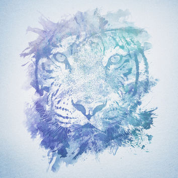 Abstract Watercolor Tiger Portrait / Face Art Print by badbugs_art | Society6