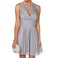 Pre-Order: Karlie-Silver Homecoming Dress