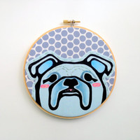 Hoop Art - 6 Inch Hoop - Blue Bull Dog - Embroidery Hoop Art