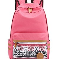 Leaper Causal Style Canvas Laptop Bag/ Shoulder Bag/ School Backpack/ Travel Bag/ Handbag with Embroidery Design (Pink)