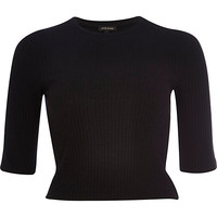 Black rib 3/4 sleeve crop top