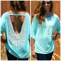 Summer Breeze Mint Crochet Back Tunic