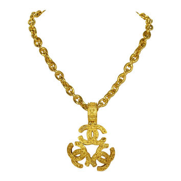 Chanel Goldtone Short Chain Triple CC Medallion Necklace c. '94