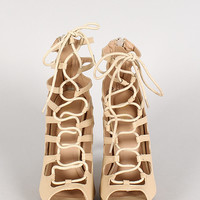 Dakota-2 Lace Up Peep Toe Platform Pump