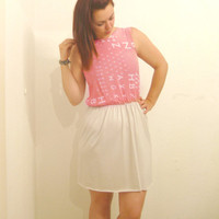 Alphabet & Numbers Pink Sun Dress upcycled by ThisIsClothing