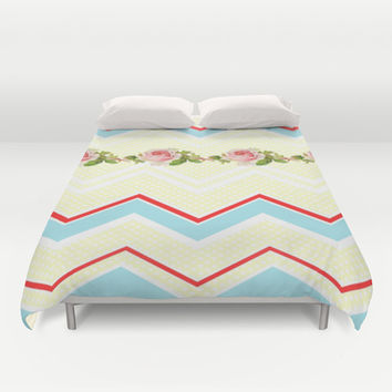 Ric-Rac-Dotty Chintz Roses Duvet Cover by ALLY COXON | Society6