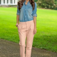 What Country Is Chambray Blouse-Light Wash