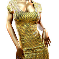Gold Mermaid Scale Cap Sleeve Bodycon Dress