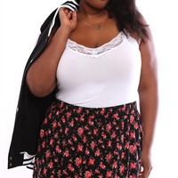 Plus Size High Low Skater Skirt with Small Floral Print