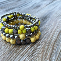 Boho Bracelet Set of Four Stretch Bracelets Indie Bracelets Yellow Natural Yellow Silver Arm Candy Teen Gift Ready To Ship