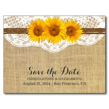 Twine & Sunflower Lace Burlap Save the Date