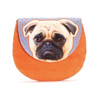 ZLYC Exclusive Pug Dog Suede Leather Look Clutch Bag