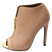 Zip-Up Peep Toe High Heel Ankle Booties