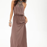 FOREVER 21 Cutout Woven Maxi Dress Taupe Small