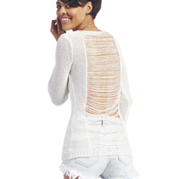 Shredded Back Long-Sleeve Sweater | Wet Seal
