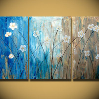 Flower Field Large 48x24 Gold Original Abstract by OritArt on Etsy