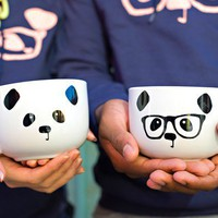Panda Face / Nerdy Panda  Ceramic Soup Mug by steppie on Etsy