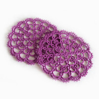 Foxglove Purple Lace Coasters in Tatting - Set of two - Rosetta - Size 2