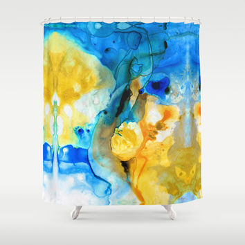 Iced Lemon Drop Abstract Art By Sharon Cummings Shower Curtain by Sharon Cummings