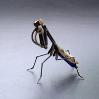 "Mechanical Praying Mantis ""Mantis No 24 "" Sculpture Recycled Watch Parts Clockwork Mantis Mantid Watch Stems Faces Insect A Mechanical Mind"