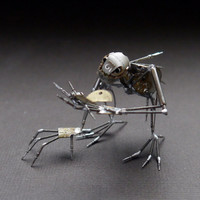 "Mechanical Creature ""Buddy"" Recycled Watch Parts Organism Justin Gershenson-Gates Faces Stems Gears Arthropod Clockwork Robot Insect"