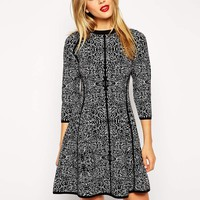 ASOS Knitted Dress In Mono Pattern
