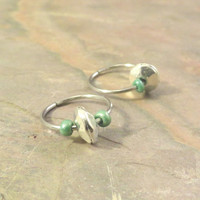 Silver Disc and Turquoise Green Cartilage Hoop Earring Septum Tragus Nose Ring Upper Ear Piercing 20 Gauge