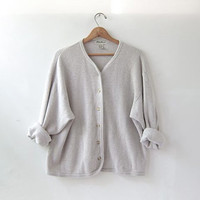 vintage oversized cardigan sweater. oatmeal cotton cardigan.