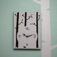 Woodlands Birch Tree Modern Nursery Wall Clock by lewasdesigns