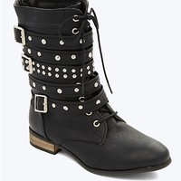Studded Wrapped Buckle Combat Boot